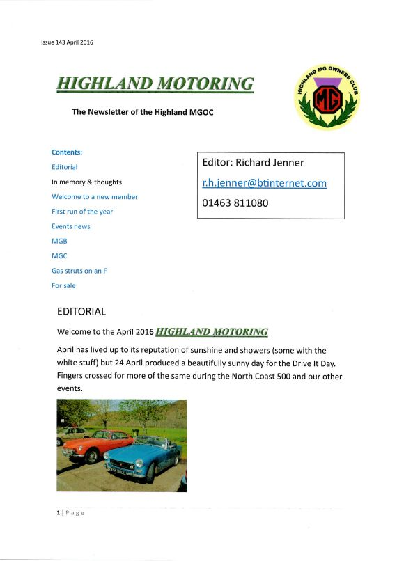Click on the image of the Newsletter fron cover for the list of previous newsletters.